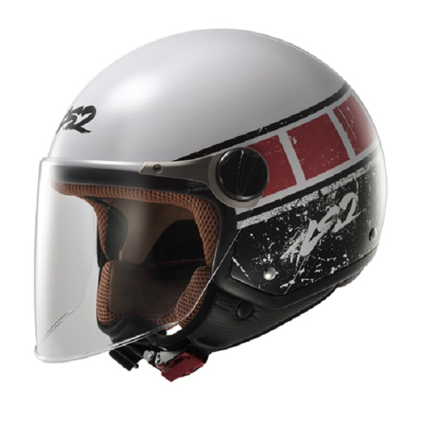 CASCO JET EN THERMOPLASTICO - LS2 -OFF560 ROCKET II / ROOK WHITE-RED
