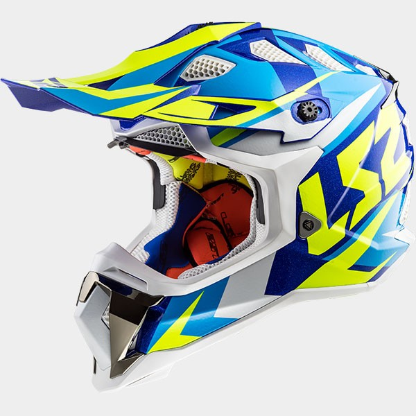 CASCO LS2 - POLICARBONO - MX470 SUBVERTER NIMBLE WHITE BLUE H-V YELLOW