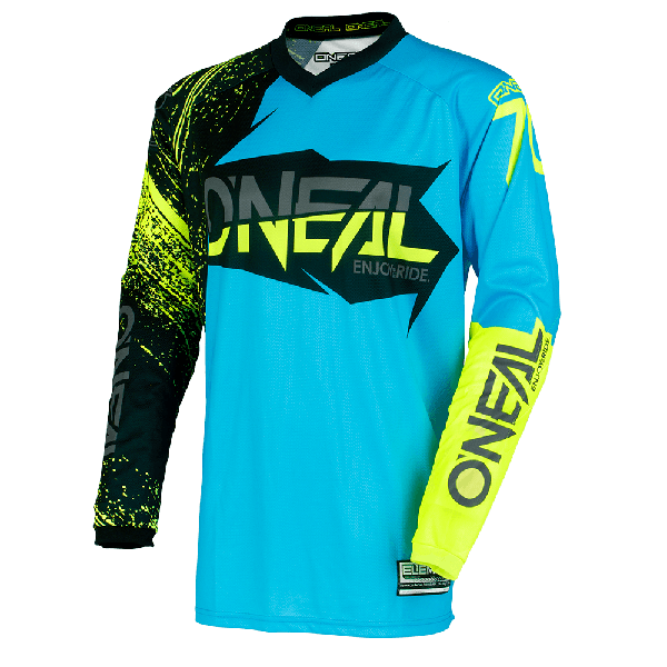 Camiseta ONEAL element burnout black/blue/hi-viz ADULTO