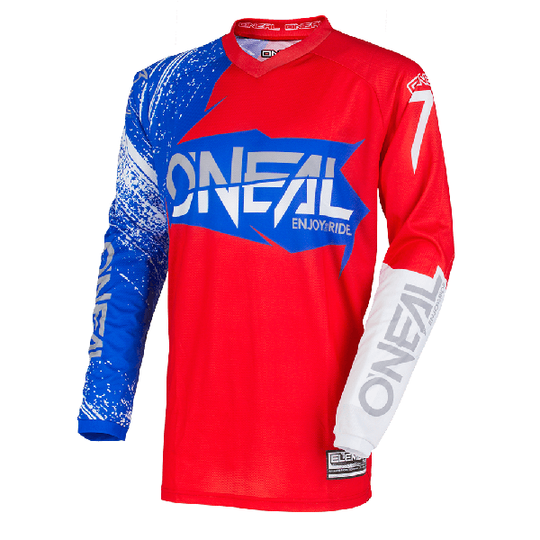 Camiseta ONEAL element burnout red/white/blue ADULTO