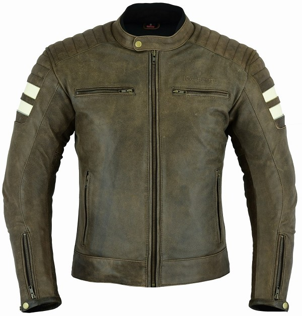 CHAQUETA DE MOTO EN CUERO CON FORRO Y PROTECCIONES DESMONTABLES